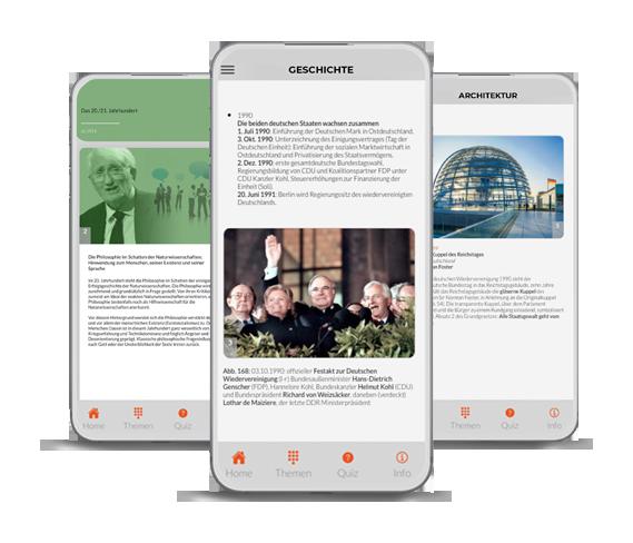 Horizontales Scrolling durch Epochen der Allgemeinwissen App getucated