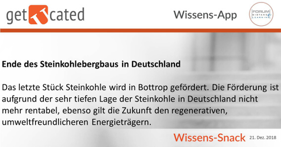 Wissenssnack Ende Steinkohlebergbau