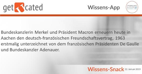 Wissenssnack Erneuerung deutsch-französischer Freundschaftsvertrag